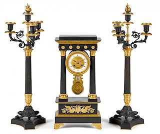 French ormolu and bronze portico clock garniture, early 20th c., 18 1/4'' h. and 24 1/2'' h.