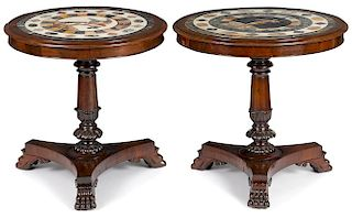 Pair of Italian mahogany center tables with mosaic tops, ca. 1830, the first with a classical figu