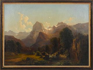 Federico Ashton (Italian 1840-1904), oil on canvas mountain landscape with figures, unsigned, 46''