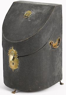 George II shagreen knife box, mid 18th c., with brass fittings, 14'' h., 8 1/2'' w. Provenance: Rent