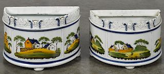 Pair of pearlware demilune bough pots, early 19th c., with polychrome landscape decoration, 5 1/2''