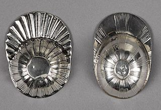 Two English silver jockey cap tea caddy spoons, one marked for Birmingham 1799, the second unmarke