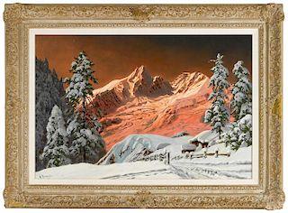 Alois Arnegger (Austrian 1879-1967), oil on canvas winter mountain landscape, signed lower left, 2