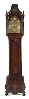 Dutch burl veneer tall case clock, 18th c., the eight day movement with brass face, signed HP Kar