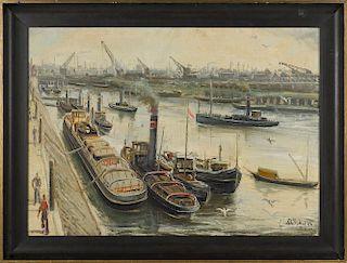 Lorenz Bosken (German 1891-1967), oil on board industrial scene, signed lower right, 29'' x 40 1/4''