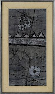 Kees Keus (Netherlands 1905-1987), oil on board abstract, signed lower right, 23'' x 11 1/2''.