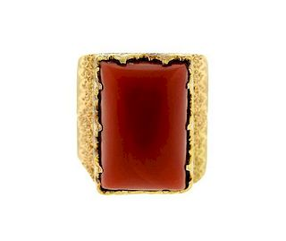 Buccellati 18K Gold Coral Ring
