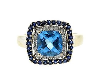 Le Vian 14K Gold Blue Topaz Diamond Sapphire Ring