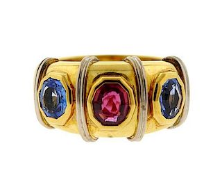 18K Gold Ruby Sapphire Band Ring