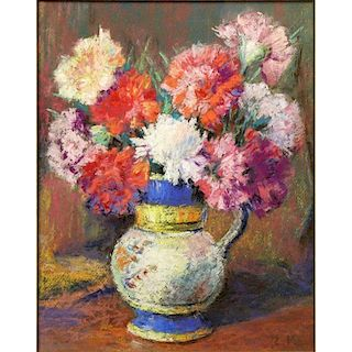 Attributed to: Édouard Vuillard, French (1868-1940) Pastel on Paper, Still Life with Flowers