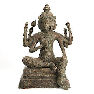 Himalayan bronze seated Buddha