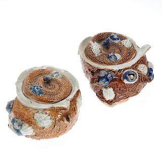 Pair Hirado porcelain sea snail Mizusashi