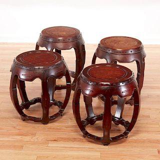 (2) old pairs Chinese hardwood drum seats