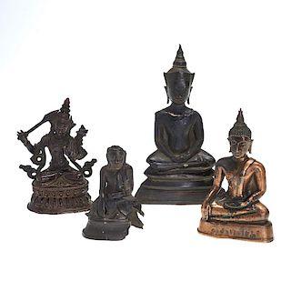 Group (4) Buddhist bronze figures