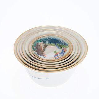 Set (7) Chinese Famille Rose nesting bowls