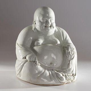 Large blanc de chine porcelain Buddha