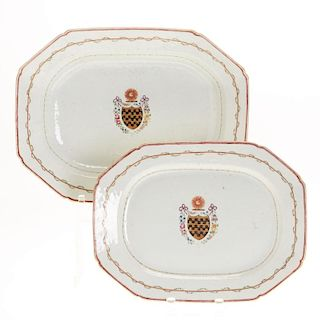 (2) Chinese Export Armorial nesting platters