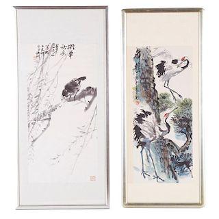 Chinese School, (2) scroll paintings
