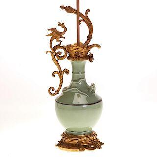 Chinese celadon dragon vase with fine ormolu mount