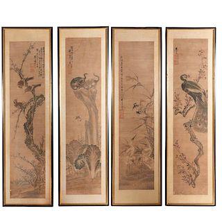 Japanese School, set (4) scroll paintings