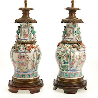 Pair bronze mounted Rose Mandarin vase lamps