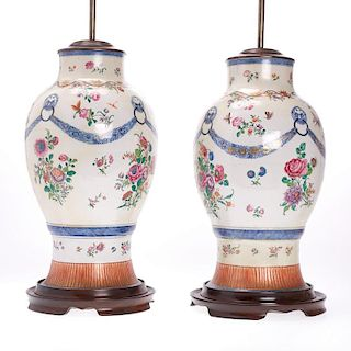 Pair large Chinese Export porcelain vase lamps