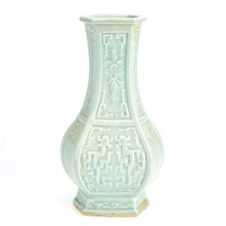 Chinese carved celadon vase
