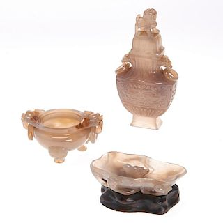 (3) Chinese agate carvings