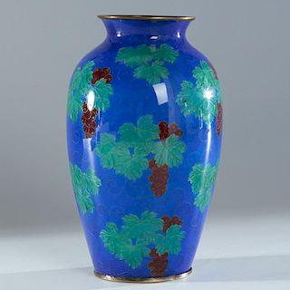 Yamamoto Japanese plique-a-jour enamel vase