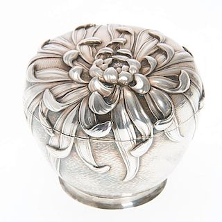 Japanese Art Nouveau silver lidded box
