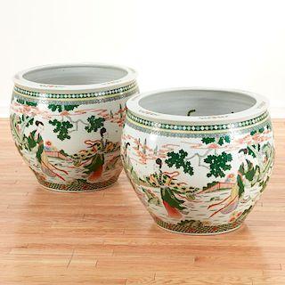 Pair Chinese famille verte porcelain fish bowls