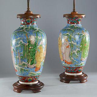 Pair Chinese enameled porcelain vase lamps
