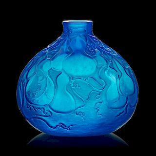 """LALIQUE """"Courges"""" vase, electric blue glass"""