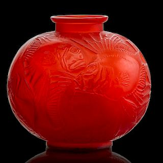 "LALIQUE ""Poissons"" vase, cased red glass"