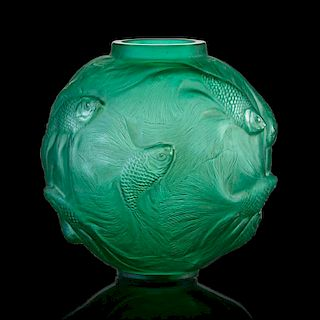 """LALIQUE """"Formose"""" vase, green glass"""