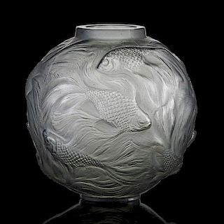 """LALIQUE """"Formose"""" vase, smoky topaz glass"""