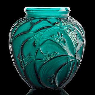 """LALIQUE """"Sauterelles"""" vase, green glass"""