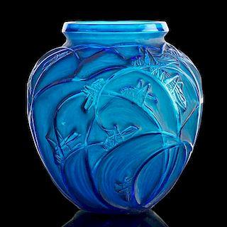 """LALIQUE """"Sauterelles"""" vase, electric blue glass"""