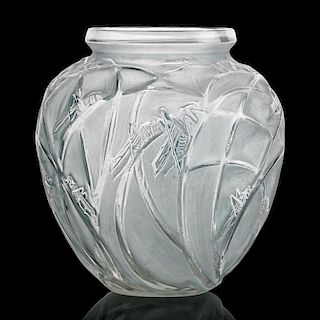 "LALIQUE ""Sauterelles"" vase, clear glass"