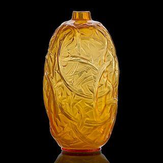 "LALIQUE ""Ronces"" vase, cased yellow glass"