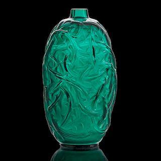 """LALIQUE """"Ronces"""" vase, green glass"""