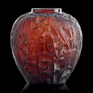 "LALIQUE ""Perruches"" vase, dark amber glass"