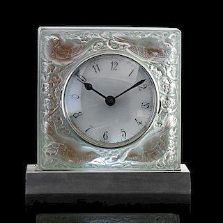 """LALIQUE """"Quatre Moineaux du Japon"""" clock"""