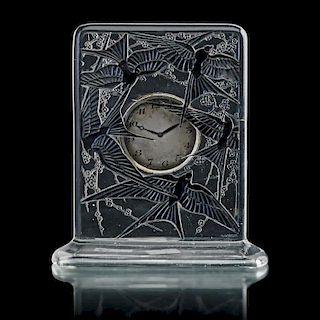"""LALIQUE """"Cinq Hirondelles"""" clock"""
