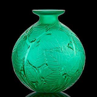 "LALIQUE ""Milan"" vase, green glass"