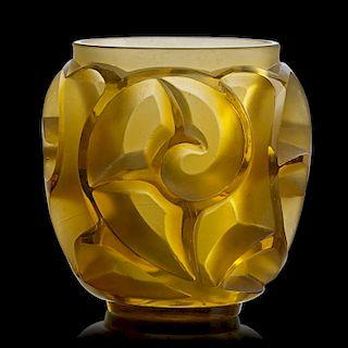 "LALIQUE ""Tourbillons"" vase, yellow amber glass"