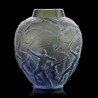 """LALIQUE """"Archers"""" vase, smoky topaz glass"""