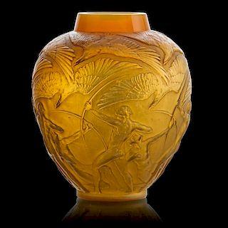 "LALIQUE ""Archers"" vase, cased yellow glass"