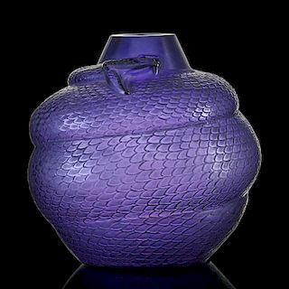 """LALIQUE """"Serpent"""" vase, purple glass"""