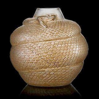 """LALIQUE """"Serpent"""" vase, clear glass"""